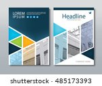 colorful annual report brochure ... | Shutterstock .eps vector #485173393