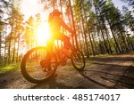 woman riding a mountain bicycle ... | Shutterstock . vector #485174017