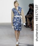 Small photo of NEW YORK, NY - SEPTEMBER 14, 2016: Alexandra Elizabeth walks the runway at the Michael Kors Spring Summer 2017 fashion show during New York Fashion Week at Spring Studio