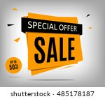 sale banner on a gray... | Shutterstock .eps vector #485178187