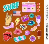 pop art fashion chic patches ... | Shutterstock .eps vector #485186173