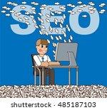 office worker generates traffic ... | Shutterstock .eps vector #485187103