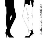 hand drawn female legs in shoes ... | Shutterstock .eps vector #485189587