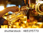 hands bartender poured beer... | Shutterstock . vector #485195773