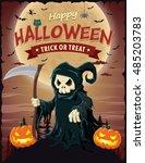 vintage halloween poster design ... | Shutterstock .eps vector #485203783