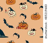 halloween vector set. cartoon... | Shutterstock .eps vector #485219683