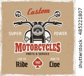 motorcycle front view vintage...   Shutterstock .eps vector #485221807