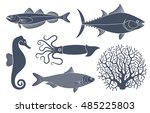 sea life. silhouette | Shutterstock .eps vector #485225803