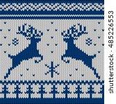 blue white knitted deers... | Shutterstock .eps vector #485226553