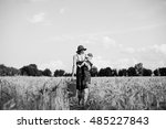 black and white back view... | Shutterstock . vector #485227843