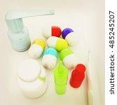 syringe  tablet  pill jar. 3d... | Shutterstock . vector #485245207