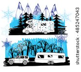 vector illustration of winter ... | Shutterstock .eps vector #485247043
