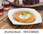 kunafa  traditional arab...   Shutterstock . vector #485248003