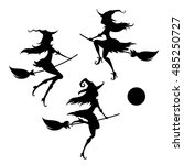 set of a young witches on a... | Shutterstock .eps vector #485250727