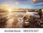 airplane being preparing for... | Shutterstock . vector #485252107