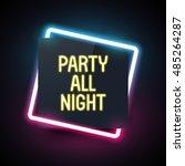 square neon light banner for... | Shutterstock .eps vector #485264287