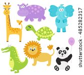 set of cute cartoon  animals. ... | Shutterstock .eps vector #485282317