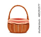 realistic wicker basket with... | Shutterstock .eps vector #485292577