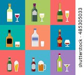 alcohol drink bottles and... | Shutterstock .eps vector #485305033