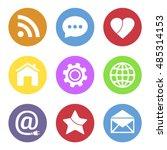 social network icon set | Shutterstock .eps vector #485314153