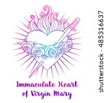 immaculate heart of blessed... | Shutterstock .eps vector #485316637