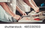 chefs preparing sushi in the... | Shutterstock . vector #485330503