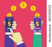 money transfer operation via... | Shutterstock .eps vector #485330923