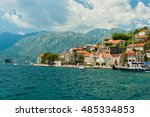 view of the old perast town ... | Shutterstock . vector #485334853