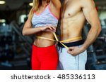 happy athletic couple   man and ... | Shutterstock . vector #485336113