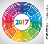 colorful round calendar 2017... | Shutterstock .eps vector #485336377
