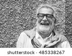 senior handsome man smiling... | Shutterstock . vector #485338267