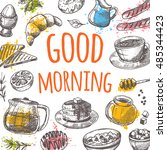 good morning card with elements ... | Shutterstock .eps vector #485344423