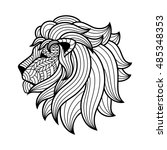 stylized face of a lion in the... | Shutterstock . vector #485348353