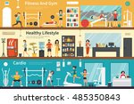 fitness and gym healthy... | Shutterstock .eps vector #485350843