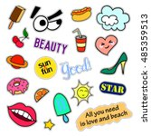 fashion patch badges. big set.... | Shutterstock .eps vector #485359513