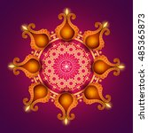 beautiful traditional rangoli... | Shutterstock .eps vector #485365873