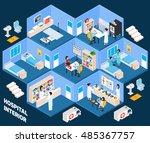 hospital isometric interior... | Shutterstock . vector #485367757