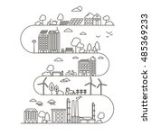 eco city in linear style  ... | Shutterstock .eps vector #485369233