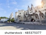 Palais Des Papes With Sun In...