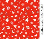 christmas red and white... | Shutterstock .eps vector #485375437