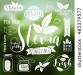 stevia and organic food label... | Shutterstock .eps vector #485379577