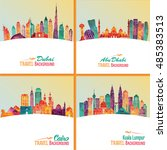 skyline detailed silhouette set ... | Shutterstock .eps vector #485383513