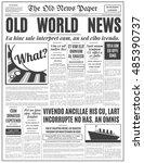 old newspaper vintage design.... | Shutterstock .eps vector #485390737
