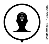 human head   black vector icon  ... | Shutterstock .eps vector #485393083