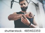 close up shot young bearded... | Shutterstock . vector #485402353