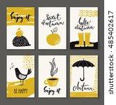 set of six vector autumn...   Shutterstock .eps vector #485402617
