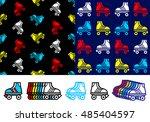 roller skate seamless... | Shutterstock .eps vector #485404597