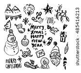 christmas design elements black ... | Shutterstock .eps vector #485416213