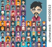 set of people icons in flat... | Shutterstock .eps vector #485430013