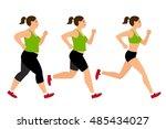 jogging weight loss woman.... | Shutterstock .eps vector #485434027